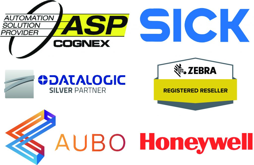 Logos for Cognex, Sick, Datalogic, Zebra, Honeywell and Aubo