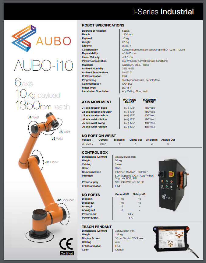Collaborative Robot - AUBO-i10 2