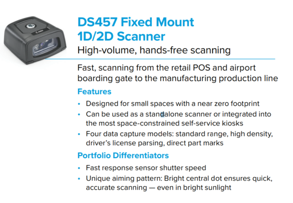 DS457 Fixed Mount Scanner