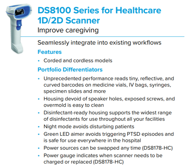 DS8100 Series for Healthcare Scanner