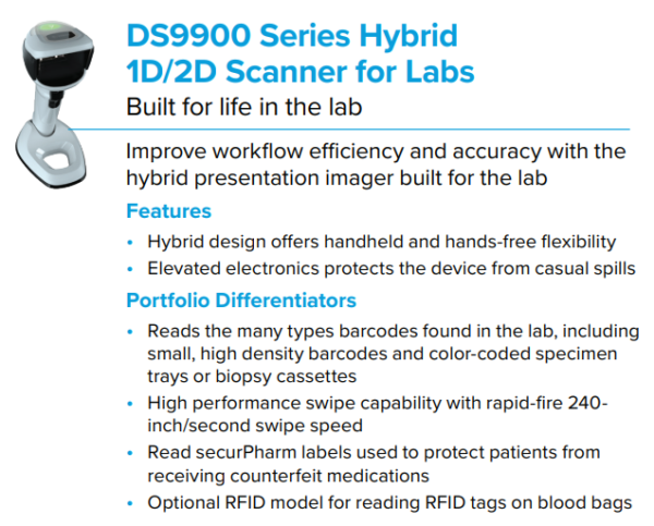 DS9900 Series Hybrid Scanner for Labs