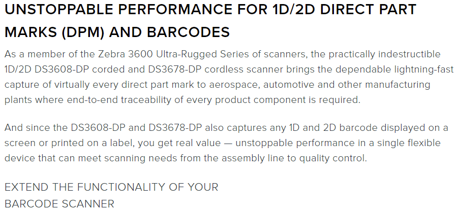 Zebra DS3608-DP and DS3678-DP ultra rugged scanners